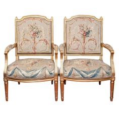 Pair of Louis XVI Gilt Wood Fauteuil with Aubusson Covering | From a unique collection of antique and modern armchairs at http://www.1stdibs.com/furniture/seating/armchairs/