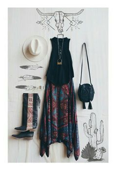 New cowgirl boats outfit summer boho hippie chic ideas Mode Hippie, Mode Boho, Hippie Style, Bohemian Style, Boho Chic, Bohemian Fashion, Boho Gypsy, Bohemian Boots, 70s Hippie