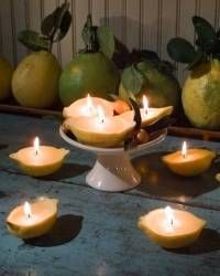 Lemon Candles The soft light and sweet aroma of candles always make a room more inviting. You can easily make your own naturally scented votive candles from hollowed-out lemon skins and beeswax. Learn How to Make Lemon Candles Votive Candles, Scented Candles, Homemade Candles, Shell Candles, Beeswax Candles, Pumpkin Candles, Martha Stewart Home, Candle Craft, Pinterest Projects
