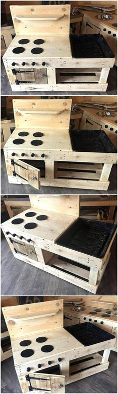 To add your house with much unique and attractive appearance this DIY mud kitchen project is best for you. This amazing pallet kid's playing plan is composed of a sink structure, a wooden shelve for spices placement and a wooden door cabinet in it. You kids will find it the best craft for their learning process.