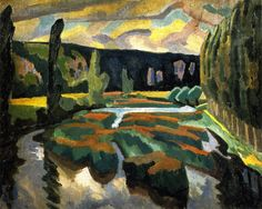 Roger Eliot Fry Paintings | River with poplars - Oil Paintings & Reproductions - page1