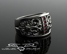 Marsala Red Diamond filigree wedding band. Antiqued 14kt hypoallergenic grey gold in Victorian Gothic Revival style. Mens diamond band SCA