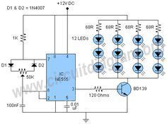 This is a very useful and interesting project of a 555 PWM LED dimmer circuit. The circuit can be used to control the brightness of LEDs. Led Projects, Electrical Projects, Electronics Projects, Electronics Gadgets, Dc Circuit, Circuit Diagram, Electronic Schematics, Led Dimmer, Light Emitting Diode