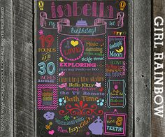 Chalkboard Girl Rainbow First Birthday Sign Poster / DIGITAL / Printable / baby GIRL 1st / Baby's First Birthday / Plus FREE Web File