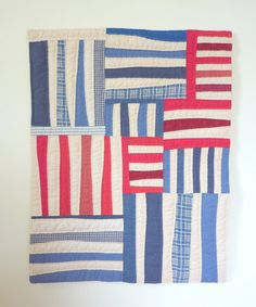 Red White and Blue Textile Wall Hanging  Bars