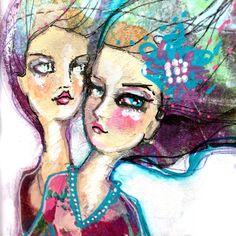 Beautiful Boho girls made with my lovely Mixed Media range! #mixedmedia #janedavenport