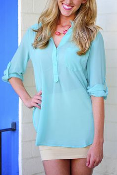 Feeling Relaxed Tunic/Top: Mint | Hope's
