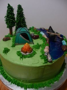 Camping Birthday Chocolate cake with chocolate mousse filling. Rocks are candy rocks, water is colored piping gel, one tree is ice cream. Camping Birthday Cake, Camping Cakes, Chocolate Cake Icing, Chocolate Mousse Recipe, Chocolate Filling, Cake Cookies, Cupcake Cakes, Cupcakes, Campfire Cake