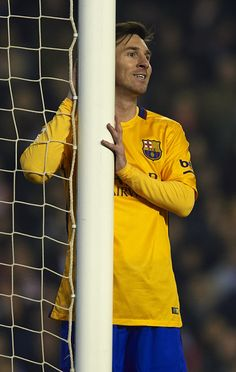 Lionel Messi of Barcelona reacts during the La Liga match between Valencia CF and FC Barcelona at Estadi de Mestalla on December 05, 2015 in Valencia, Spain.