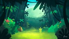 Harrdy - Art of Henrique Lira Cartoon Background, Animation Background, Art Background, Background Designs, Environment Concept Art, Environment Design, Wie Zeichnet Man Manga, Jungle Art, Drawn Art