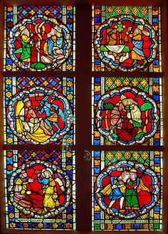 Scenes from the Old Testament, Gothic stained glass window in the Musée de l'Oeuvre N otre-Dame, Strasbourg  Date	13th century
