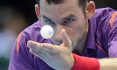 Daniel Zwickl of Hungary playing in the table tennis competition. Photograph: Bernd Thissen/ EPA