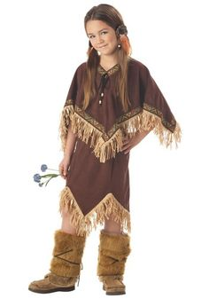 This Child Indian Princess Costume is styled to look like authentic Native American garments. Great for Halloween or a historic-themed party!