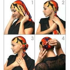 """Step 1: Fold scarf in half and center on forehead (folded edge in front) Step 2: Gather toward side-nape and twist Stpe 3: Continue twisting and guide into bun shape Step 4: Finish twisting through ends to tuck and secure *infinity scarf shown; can be achieved with any scarf type Step 1: Fold scarf in half, length ways Step 2: Center on forehead and begin tying at side-nape with an elastic Step 3: On last loop, pull only 1/4"""" of the scarf through the elastic Step 4: Gently..."""