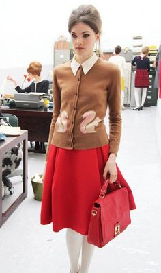MUST FIND THIS - Orla Kiely AW13 Mad Men Style Secretary pool fashion squirrel sweater