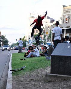 Skateboarding in New Orleans Streets.     www.aspectsclothing.com