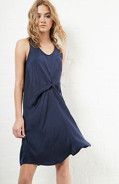 Charmeuse Front Sleeveless Dress in Navy S - L | DAILYLOOK