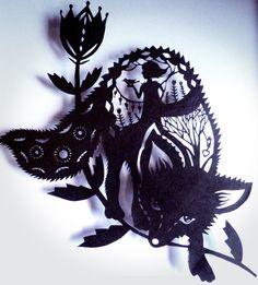 Original Paper Cut silhouette whimsy fox