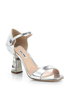 8873baf1bc47 Miu Miu - Metallic Leather Jeweled-Heel Sandals
