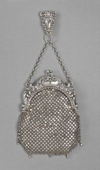 Chatelaine Bag    Made in Massachusetts, United States  Late 19th century    Whiting and Davis Company, Plainville, Massachusetts, founded 1876    Sterling silver mesh  9 11/16 x 4 1/2 x 5 7/8 inches (24.6 x 11.4 x 14.9 cm)