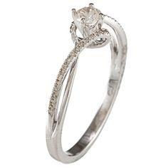 New! 14k White Gold 1/3ct TDW White Diamond Swirl Engagement Ring (IJ, I1-I2) | Overstock.com
