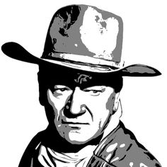 John Wayne, Boxing Posters, Star Illustration, Silhouette Painting, Wood Burning Patterns, Cowboy Art, Black And White Painting, Vector Portrait, Movie Poster Art