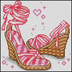 point de croix chaussure rose de femme - cross stitch pink woman's shoes