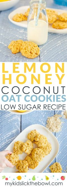 lemon coconut oat cookies, low sugar recipe, sweetened with a little honey. Low sugar snack for kids Low Sugar Snacks, Low Sugar Desserts, Low Sugar Recipes, No Sugar Foods, Low Sugar Meals, Diabetic Desserts, Cooking With Kids Easy, Healthy Meals For Kids, Healthy Baking