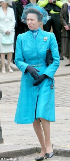 This rather stylish blue shantung coat made its first appearance at Charles and Camilla's wedding in 2005 — even Anne wasn't cheeky enough to turn out in the same ensemble she'd worn to his first wedding — and again with a different hat eight years later at a Buckingham Palace Garden Party