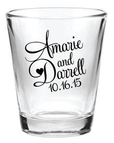 144 Personalized 1.5oz Wedding Favors Glass Shot Glasses Custom NEW 2014 Wedding Designs