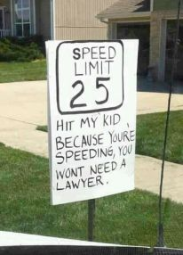 I am SO putting this in our yard for all the crazies driving down our street!!!