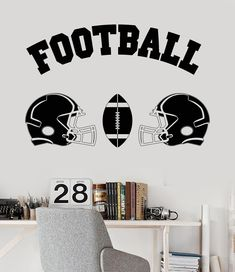 Football Wall Art Wall Decal Decor Custom Jersey Name And Number - Custom vinyl wall decal equipment