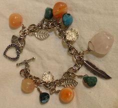 Natural Stone Nugget Charm Bracelet by JACYouthfulFashions on Etsy