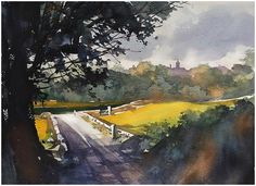 "schaller - watercolor artist ""Simple Country Lane"" Thomas W Schaller - Watercolor. Watercolor Pictures, Watercolor Sketch, Watercolor Artists, Watercolor Techniques, Watercolor Landscape, Watercolour Painting, Landscape Paintings, Watercolours, Art Thomas"