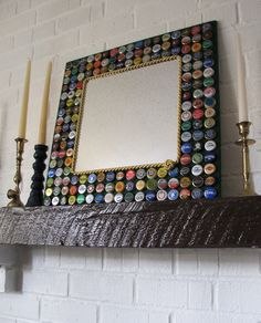 Beer Bottle Cap Mirror-Beer/Bottle Caps/Mirror..you can always do Sprecher Root Beer for a kid's room :)