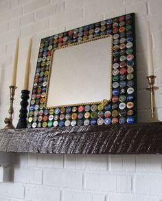 Beer Bottle Cap Mirror-Beer/Bottle Caps/Mirror..you can always do Sprecher Root Beer for a kid's room :)