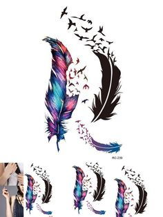 [Visit to Buy] New Small Fresh Wild Goose Feather Pattern Temporary Tattoo Waterproof tickers Temporary Body Art #Advertisement