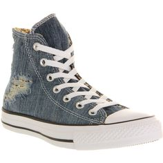 Converse All Star Hi ($25) ❤ liked on Polyvore featuring shoes, sneakers, converse, trainers, torn denim leopard, unisex sports, denim shoes, denim sneakers, leopard print high top sneakers and hi tops