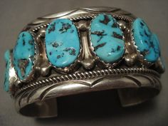 100 grammi Bracciale argento turchese Navajo Vintage di NativoArts
