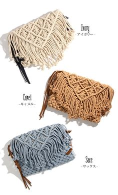 outletruckruck: Casselini macrameribon clutch bag women's clutch bag bags macrame Catherine Ribbon Ribon Bohemian fringe tassel simple ethnic native - Purchase now to accumulate reedemable points! Macrame Colar, Macrame Purse, Macrame Earrings, Macrame Knots, Macrame Jewelry, Knitted Bags, Crochet Bags, Crochet Vintage, Bag Women