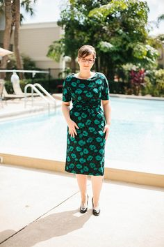 1950s Green and Black Floral Sheath Dress by DesDoesVintage, $45.00