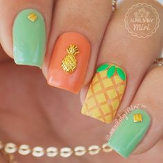toes Super manicure ideas for short nails spring toe Ideas Idéias super manicure para unhas curtas Love Nails, How To Do Nails, Fun Nails, Pretty Nails, Pineapple Nail Design, Pineapple Nails, Watermelon Nails, Pineapple Art, Manicure Colors