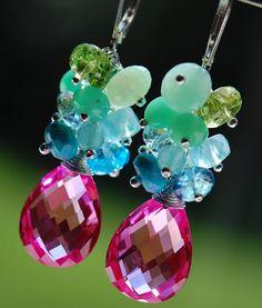 Pretty!! Pink Topaz, Chalcedony, Peridot, Peruvian Opal, Blue Topaz in a gemstone Cascade!