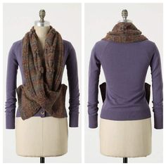 Anthro 'SCARF WRAPPED CARDI' Your favorite two winter staples are together at last. A soft wool sweater joins with a pompom-trimmed neck warmer, creating a surefire way to keep the cold at bay. By Charlie & Robin.  Button closure  Wool, viscose, acrylic, mohair  Dry clean Anthropologie Sweaters Cardigans