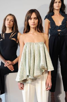 Totally wearable ruffled tank at Nellie Partow's NYFW presentation (Credit: Getty)