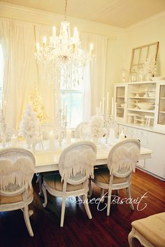 My dining room dressed all in white for Christmas this year:)
