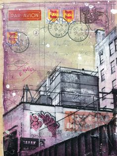 Fences and Flowers - original New York City mixed media painting on paper. $130.00 by maechevrette
