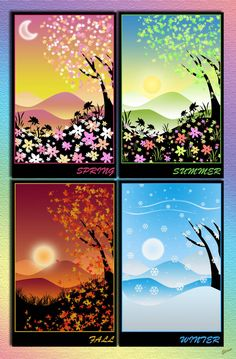 four seasons~ what to do, what to do? four seasons~ what to do, what to do? Art Painting, Window Painting, Pastel Art, Painting Inspiration, Four Seasons Painting, Art, Four Seasons Art, Painting Art Projects, Canvas Art