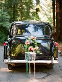 Black wedding car...