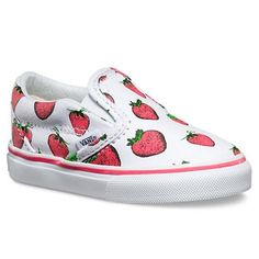 Vans | CSO Strawberries | Toddler Girls You won't find a cuter pair of toddler girls Vans than these CSO Strawberries in True White Classic Slip-on Style!